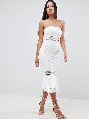 ASOS DESIGN Bandeau Trim Pephem Dress - Ivory