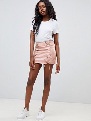 Glamorous lace up pu skirt - Pink pu