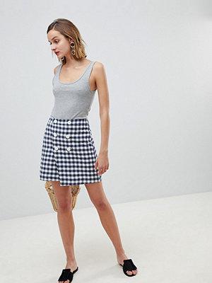 Mango Rutig kjol med dubbel knäppning