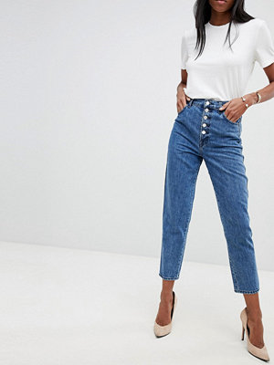 J Brand Heather Straight jeans med hög midja och synlig knapp Electrify blue