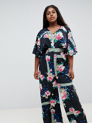 ASOS Curve ASOS DESIGN Curve jumpsuit with overlay and wide leg in floral print - Black/pink/multi