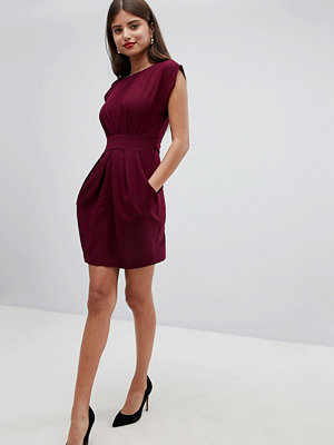 Closet London Pleat Waisted Dress - Wine