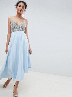 ASOS DESIGN asymmetric hem pleated midi skirt in scuba - Dusty blue