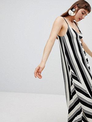 Mango knitted mono stripe hank hem dress in mono