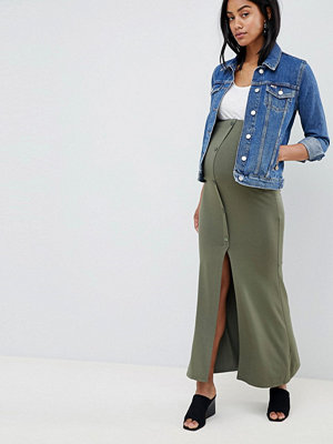 ASOS DESIGN Maternity maxi skirt with button front and split detail - Khaki
