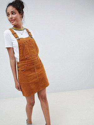 Miss Selfridge cord pinafore dress in light brown