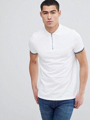 ASOS DESIGN standard polo with zip and tipping - Wht/dutch bl/blk