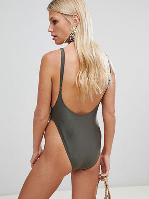 Brave Soul Scoop Back Swimsuit - Khaki