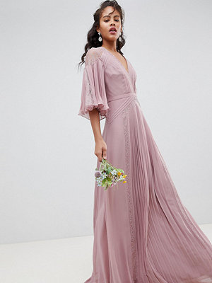 Asos Tall ASOS DESIGN Tall Bridesmaid pleated panelled flutter sleeve maxi dress with lace inserts - Dusty pin