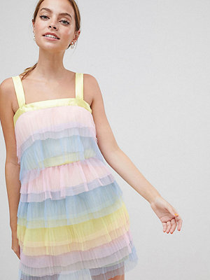 ASOS Petite ASOS DESIGN Petite Tiered Mini Dress In Colourblock Tulle