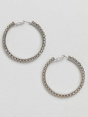 Aldo örhängen Silver Embellished Hoop Earrings - Clear on rhodium