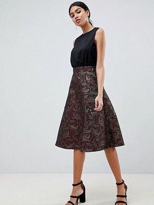 Ax Paris Skater Midi Dress With Lace Skirt - Plum