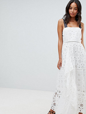 Asos Tall ASOS DESIGN Tall Premium Broderie Maxi Dress With Contrast Straps