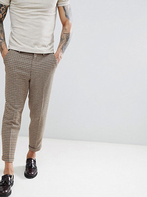 ASOS DESIGN drop crotch tapered mini check trouser with turn up