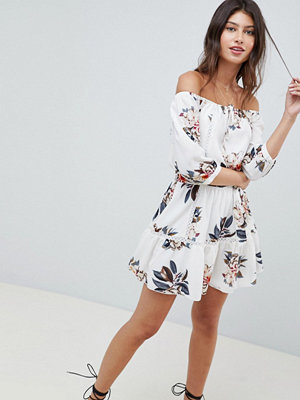Parisian Off Shoulder Floral Dress With Tie Waist And Ladder Detail - Cream