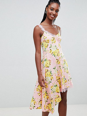 Asos Tall ASOS DESIGN Tall floral print lace insert slip dress