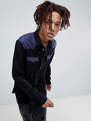 ASOS DESIGN regular fit colour block western shirt