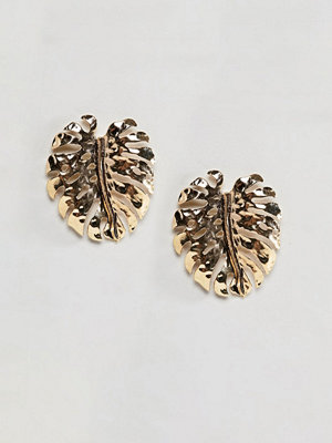 DesignB London örhängen Oversized Palm Leaf Gold Earrings