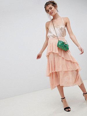 ASOS DESIGN embroidered lace asymmetric ruffle high low midi skirt - Peach