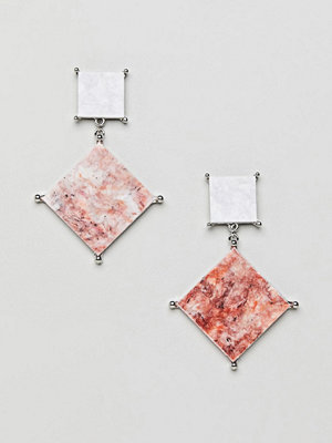 ASOS örhängen earrings with coloured marble effect recycled cotton stone - Rhodium