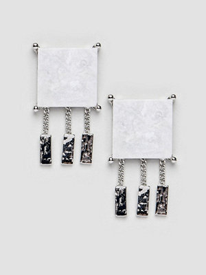 ASOS örhängen stud earrings with marble effect recycled cotton stone - Rhodium