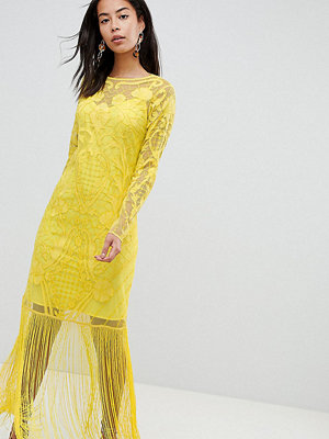 Asos Tall ASOS DESIGN Tall embroidered fringe maxi
