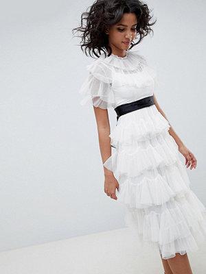 Needle & Thread tiered tulle midi dress in pearl - Pearl