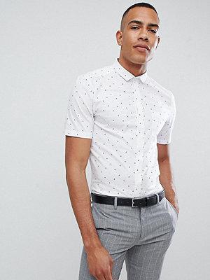 ASOS DESIGN smart skinny shirt with ditsy boat print and mini collar
