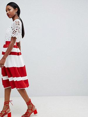 ASOS DESIGN midi scuba prom skirt in red stripe - Red / ivory