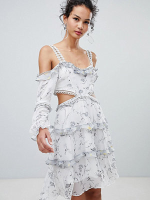 Glamorous cold shoulder floral midi dress - White grey ditsy