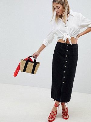 ASOS DESIGN denim midi skirt with buttons