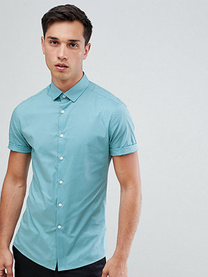 ASOS DESIGN Tall skinny oxford shirt in green with short sleeves - Lake blue