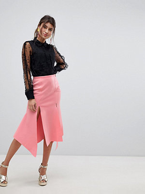 ASOS DESIGN double split hanky hem midi skirt in scuba - Geranium pink