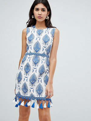 Ra-Re London embroidered trim printed shift dress