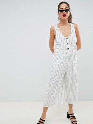 ASOS DESIGN jumpsuit with button front detail in stripe - Mono stripe