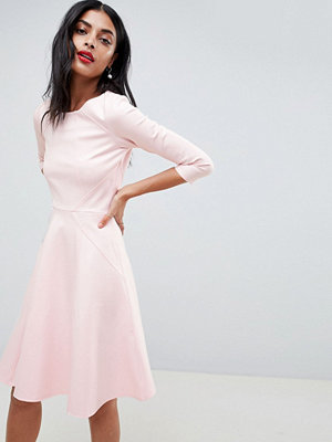 Closet London Skater Dress With 3/4 Sleeve - Pale pink