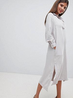 Closet London Minimal Midi Shirt Dress - Pale grey