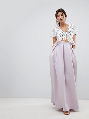 ASOS DESIGN scuba maxi skirt with pockets and godet back detail - Lilac