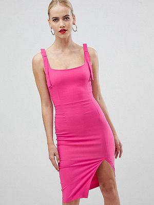 Vesper square neck with tie detail pencil dress with cut out back