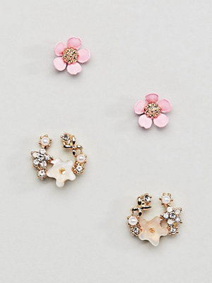ASOS örhängen DESIGN pack of 2 stud earrings in floral design