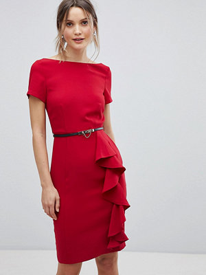 Paper Dolls short sleeve dress with frill detail - Tomato red