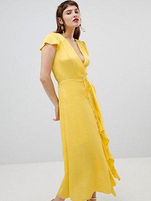 River Island wrap front ruffle dress