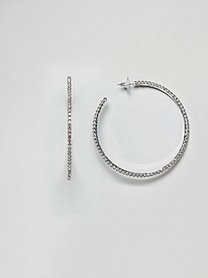 ASOS örhängen DESIGN hoop earrings with crystals in silver - Silver