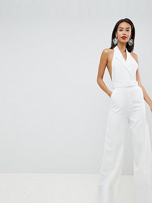 Asos Tall ASOS DESIGN Tall tux jumpsuit with wide leg - Ivory