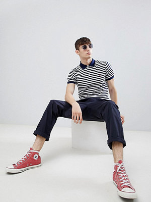Polo Ralph Lauren stripe slim fit stretch pique polo player logo in navy/white - French navy/white