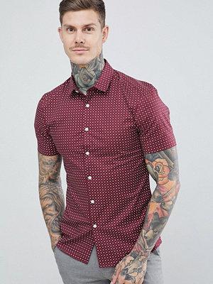 ASOS DESIGN smart skinny ditsy print shirt