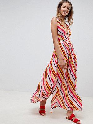 ASOS DESIGN stripe print grecian plunge maxi woven beach dress - Stripe print
