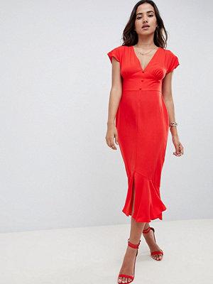 ASOS DESIGN button through pephem midi tea dress with bow back