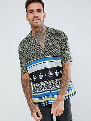 ASOS DESIGN oversized geo print shirt with stripe