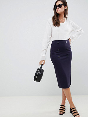 ASOS DESIGN double breasted ponte pencil skirt